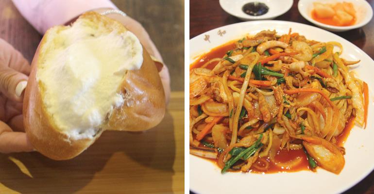 「パンジャンス・シェフ」の生クリームあんパンと、「中和飯店」の焼きうどん