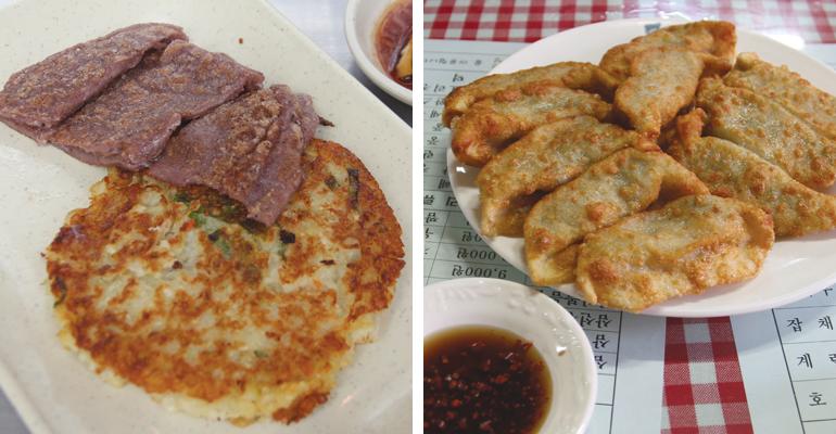 廉売市場のススジョンと、「永生徳マンドゥ専門店」の揚げ餃子