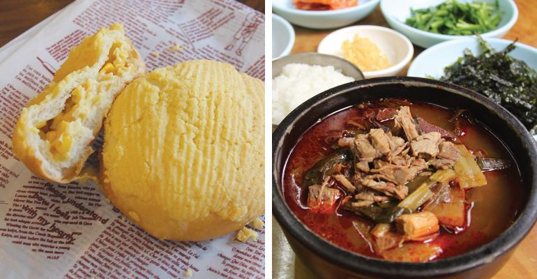 サムソンベーカリーの「麻薬パン」と、韓一タロ食堂の「タロクッパ」