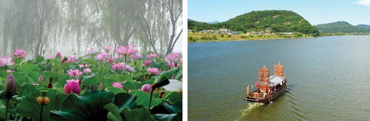 宮南池と白馬江