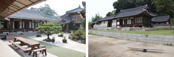 伝統韓屋ペンション(左)と百済館(右)